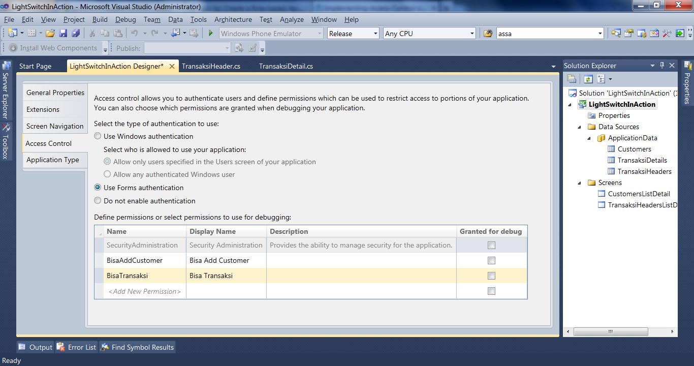 Visual Studio LightSwitch #6: Hak Akses, User dan Login, Fungsi Tambahan accesscontrol 1