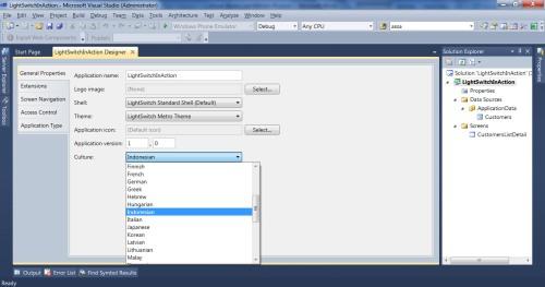 Visual Studio LightSwitch #3: Interface dan Bahasa bahasa 6