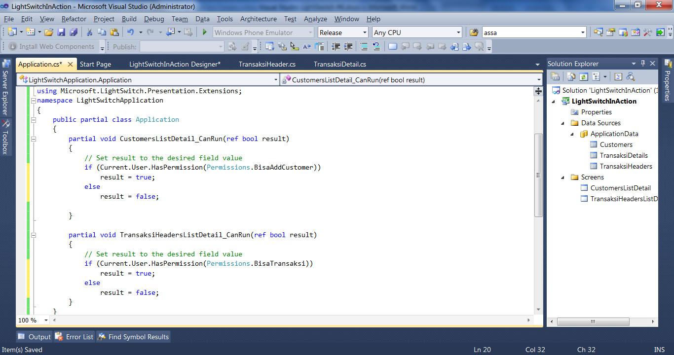 Visual Studio LightSwitch #6: Hak Akses, User dan Login, Fungsi Tambahan codevalidasi 3