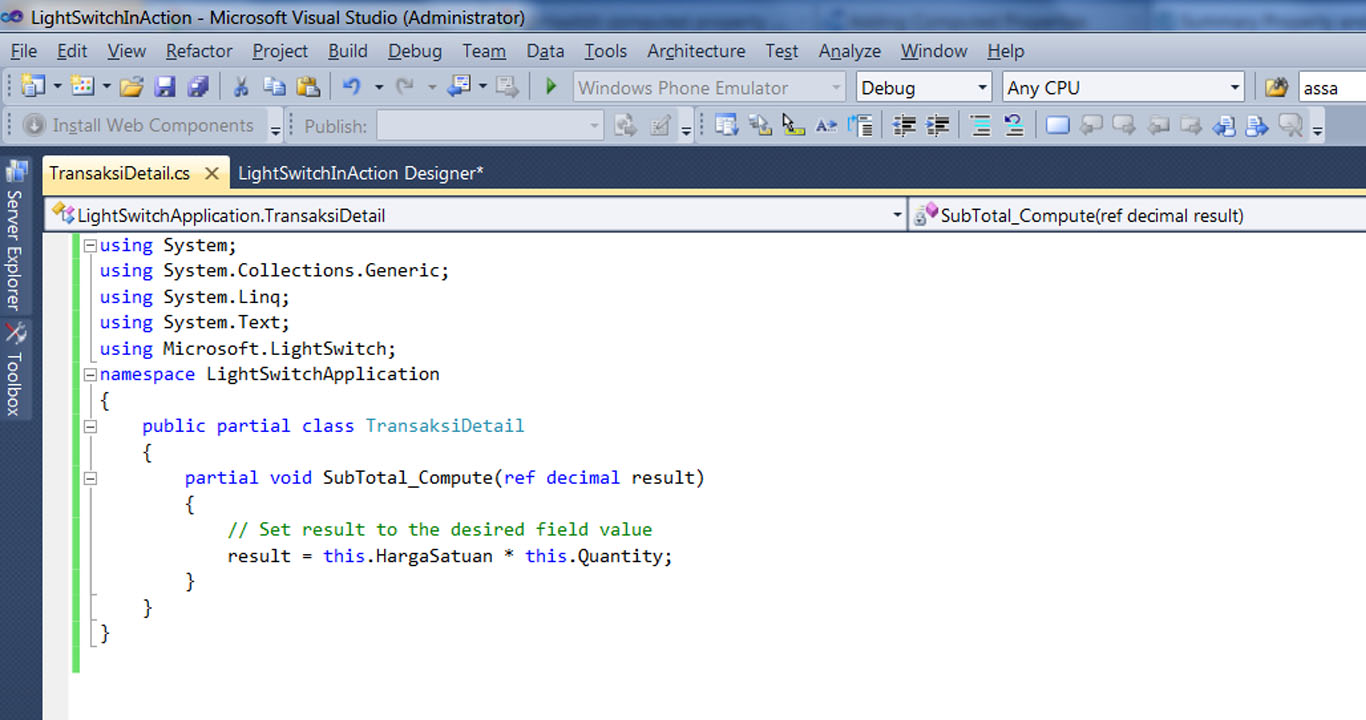 Visual Studio LightSwitch #4: Relasi dan Computed Data computedcode 5
