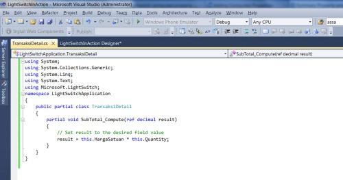 Visual Studio LightSwitch #4: Relasi dan Computed Data computedcode 5