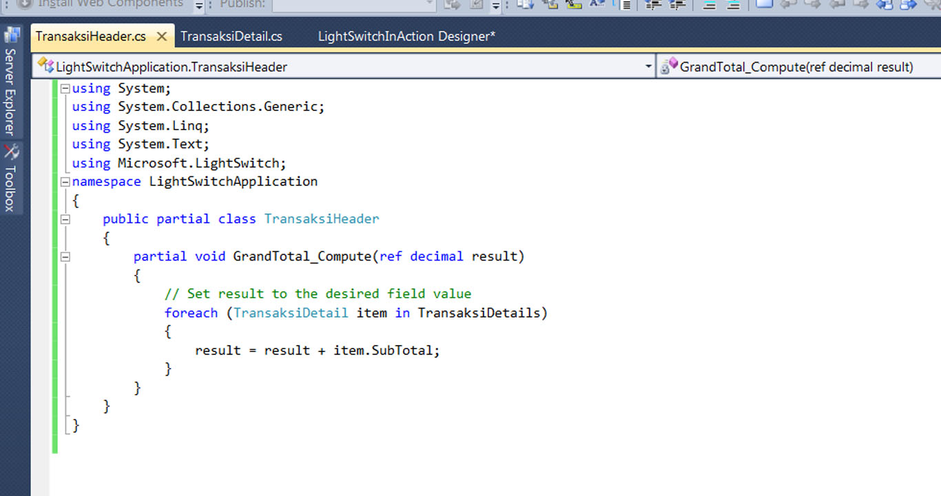 Visual Studio LightSwitch #4: Relasi dan Computed Data grandtotalcode 7
