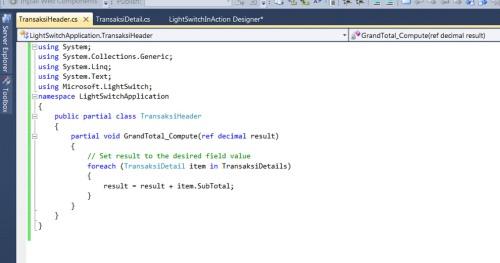 Visual Studio LightSwitch #4: Relasi dan Computed Data grandtotalcode 7