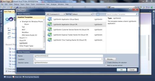 Visual Studio LightSwitch #1: Membuat Project, Database, dan Simple Screen new project 1