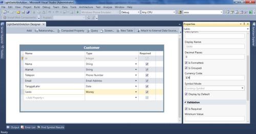 Visual Studio LightSwitch #2: Validasi dan Format Data propertiesmoney 6