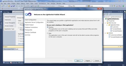 Visual Studio LightSwitch #5: Web - Desktop Switching, Publishing, dan Mekanisme Update publish 4