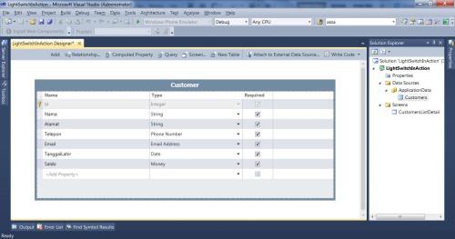 Visual Studio LightSwitch #2: Validasi dan Format Data tipedata 2