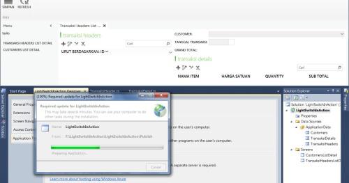 Visual Studio LightSwitch #5: Web - Desktop Switching, Publishing, dan Mekanisme Update update 8