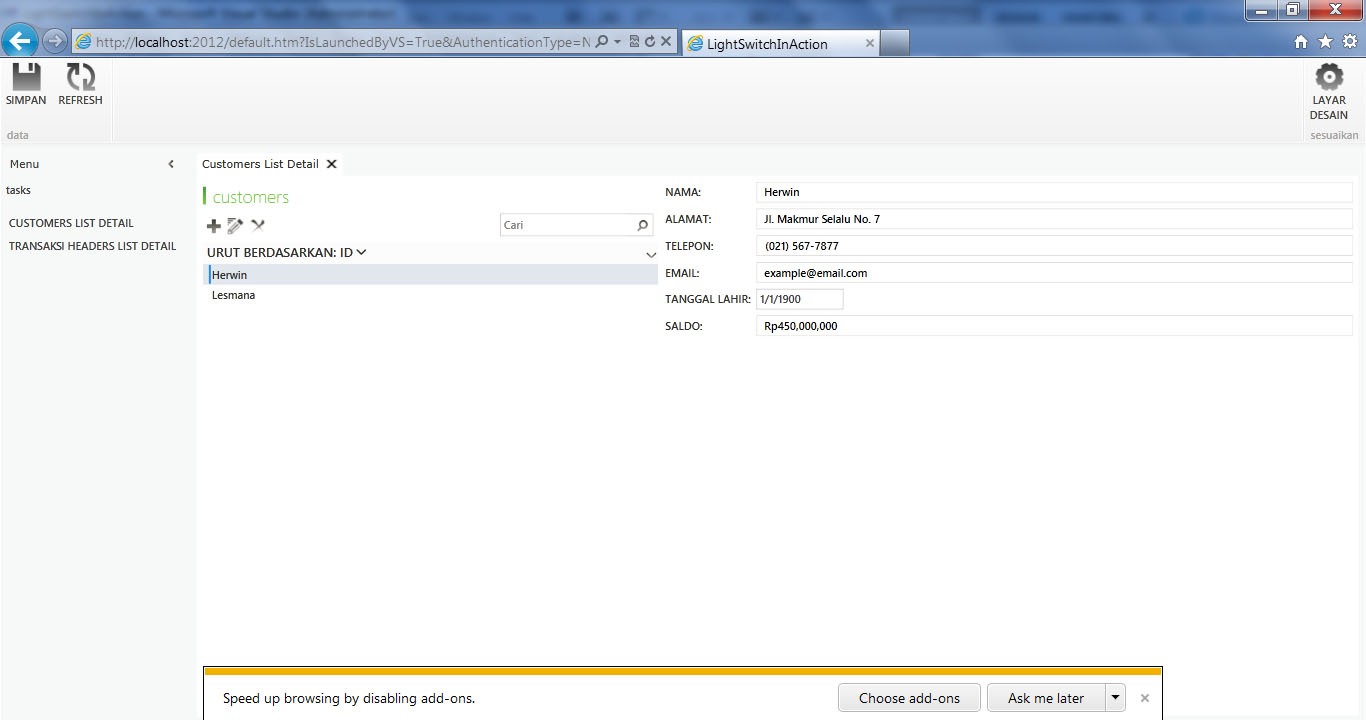 Visual Studio LightSwitch #5: Web - Desktop Switching, Publishing, dan Mekanisme Update webapp 2
