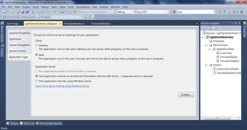 Visual Studio LightSwitch #5: Web - Desktop Switching, Publishing, dan Mekanisme Update webdesktopswitch 1